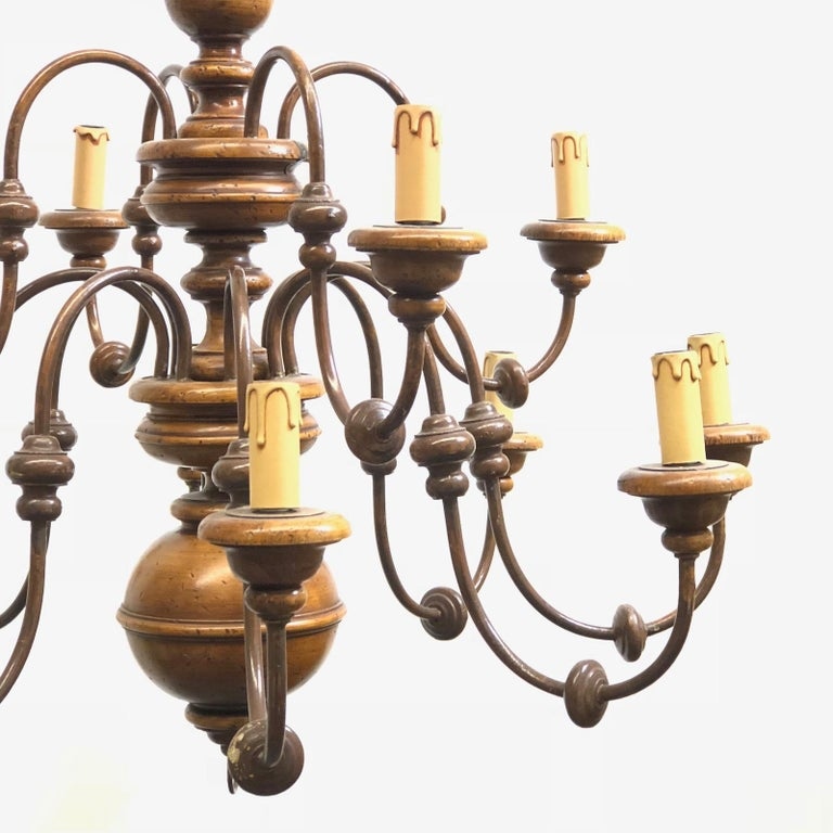 Florentine Florence Renaissance Style Wood and Metal Chandelier from Italy In Good Condition For Sale In Frisco, TX