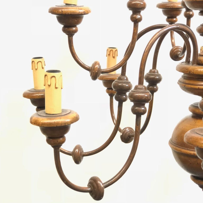 Florentine Florence Renaissance Style Wood and Metal Chandelier from Italy For Sale 2