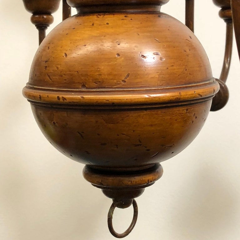 Florentine Florence Renaissance Style Wood and Metal Chandelier from Italy For Sale 5