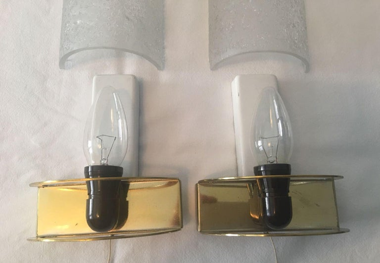 Nice Pair of 1960s Ice Glass Sconces by Doria Leuchten For Sale 1