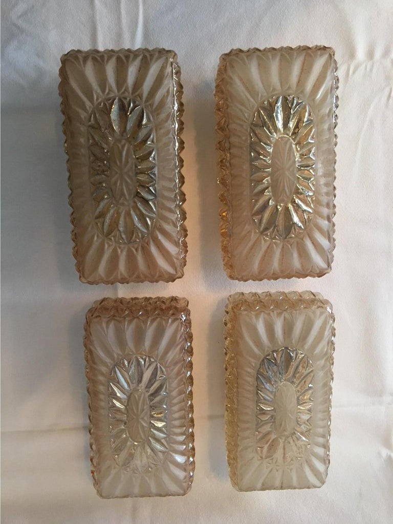 Austrian Set of Four (4) Glass Vanity Sconces Sunburst Starburst from Austria For Sale
