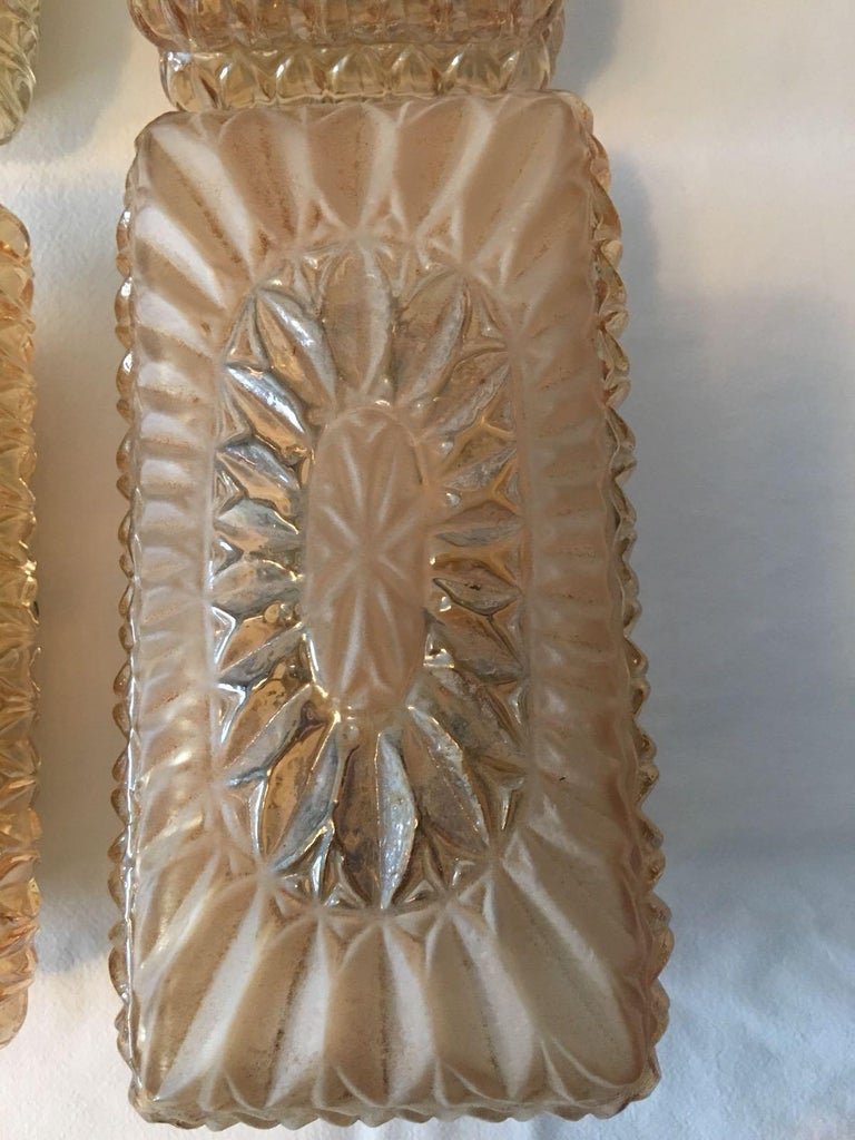 Mid-20th Century Set of Four (4) Glass Vanity Sconces Sunburst Starburst from Austria For Sale