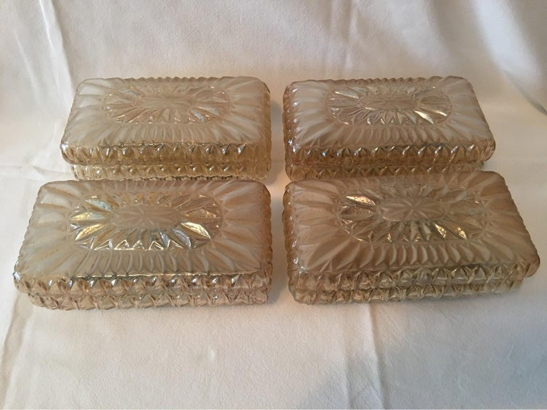 Set of Four (4) Glass Vanity Sconces Sunburst Starburst from Austria For Sale 1