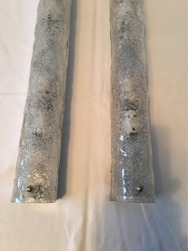 Pair of German Ice Glass Hillebrand Vanity Sconces For Sale 1