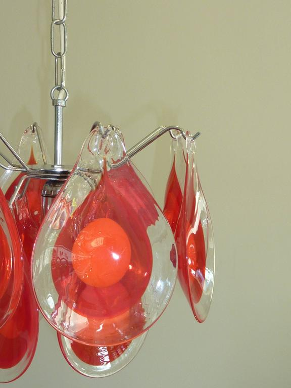 Mid-20th Century Gino Vistosi Chandelier for Venini Murano Glass Drop, 1960s For Sale