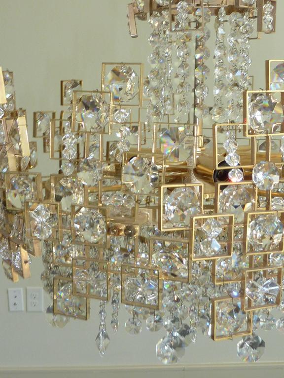 Brass Geometric Lobmeyr Chandelier For Sale