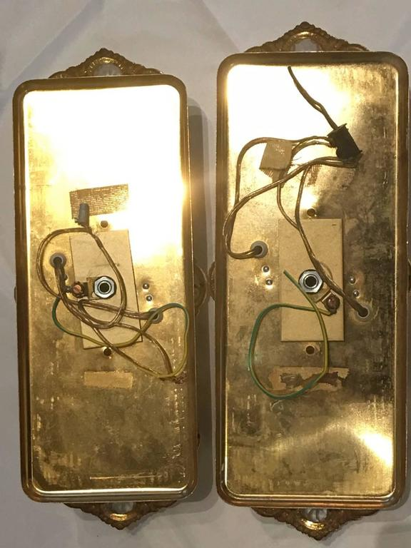 Italian Pair Gilt with Crystal Elements Sconces Wall Lights For Sale 1