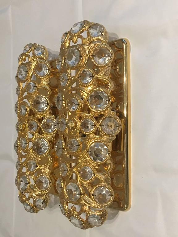 Italian Crystal Wall Lights : Italian Pair Gilt with Crystal Elements Sconces Wall Lights For Sale at 1stdibs