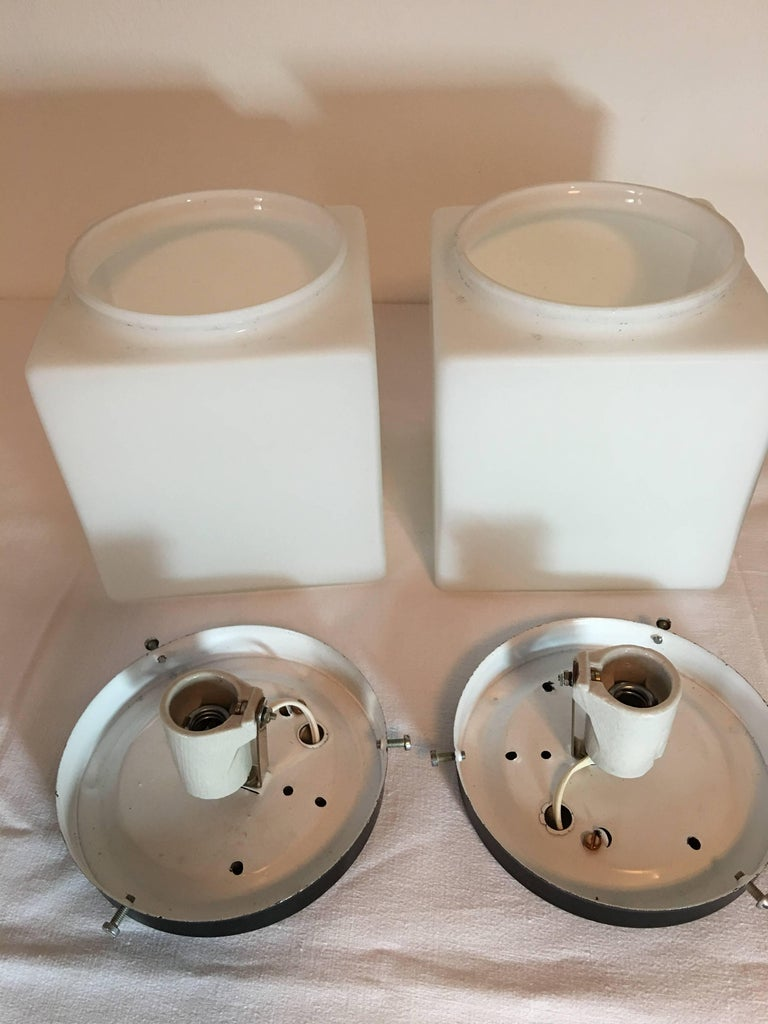 Mid-20th Century Pair of 1960s Italy Milk Glass Cube Flush Mount Stilnovo Style For Sale