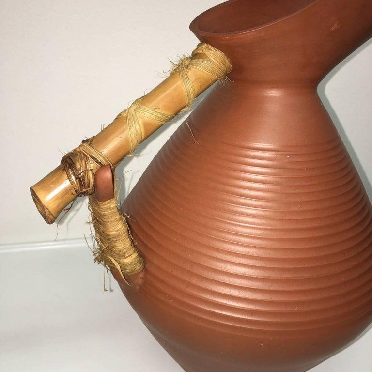 Mid-Century Modern Studio Art Handmade Pottery Terracotta Jug Vase, 1950s For Sale