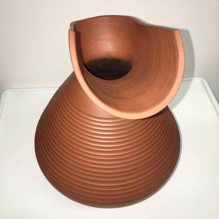 Austrian Studio Art Handmade Pottery Terracotta Jug Vase, 1950s For Sale