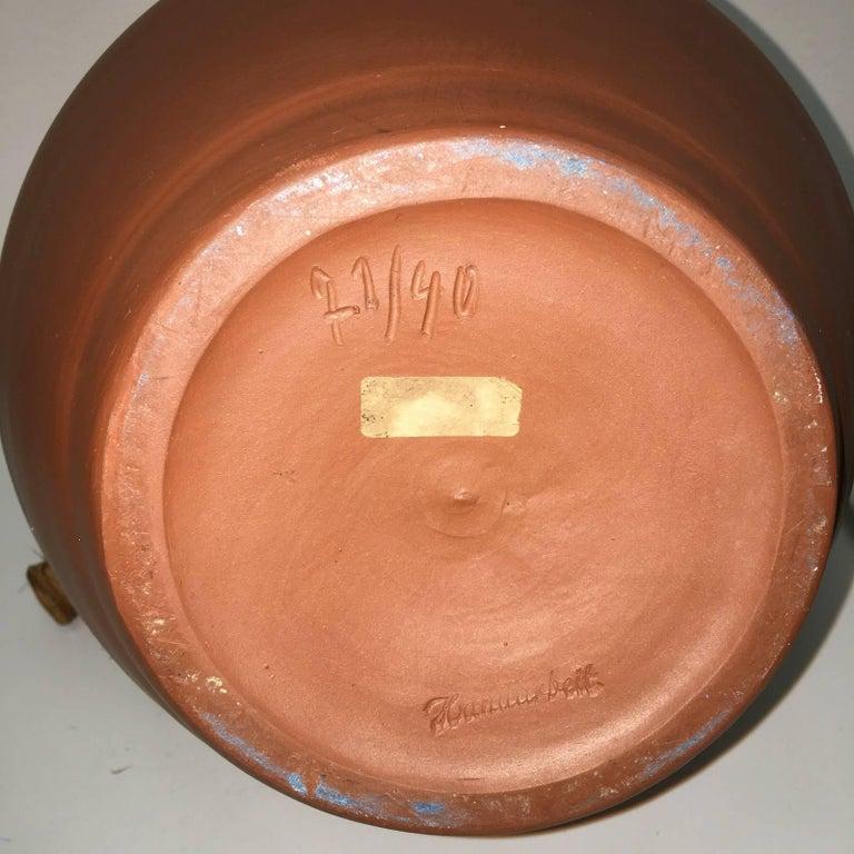 Mid-20th Century Studio Art Handmade Pottery Terracotta Jug Vase, 1950s For Sale