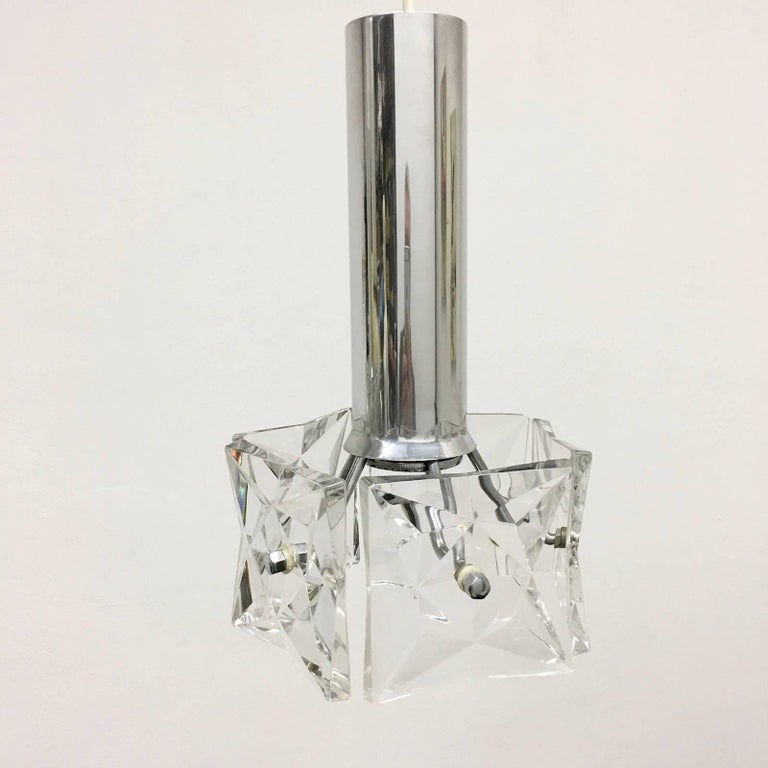Pair of Crystal and Chrome Kinkeldey Pendants In Good Condition For Sale In Frisco, TX