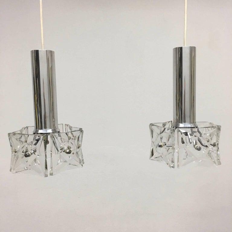 Pair of Crystal and Chrome Kinkeldey Pendants For Sale 2