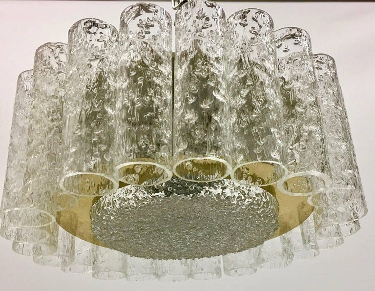 Petite Midcentury Doria Glass Tube Ice Glass Flush Mount 2