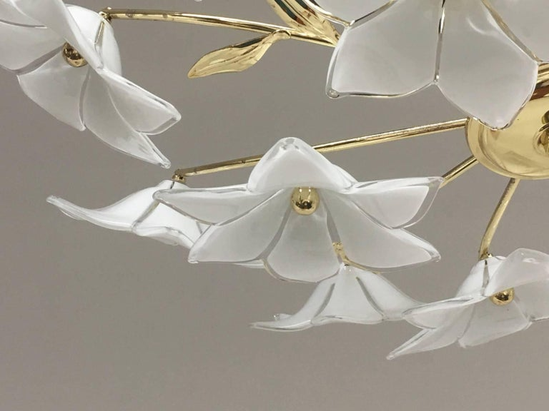 Late 20th Century Stunning Flower Glass Italian Wall Light or Flush Mount For Sale