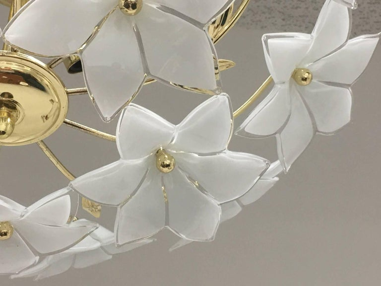 Metal Stunning Flower Glass Italian Wall Light or Flush Mount For Sale