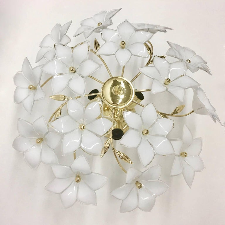 Stunning Flower Glass Italian Wall Light or Flush Mount For Sale 2