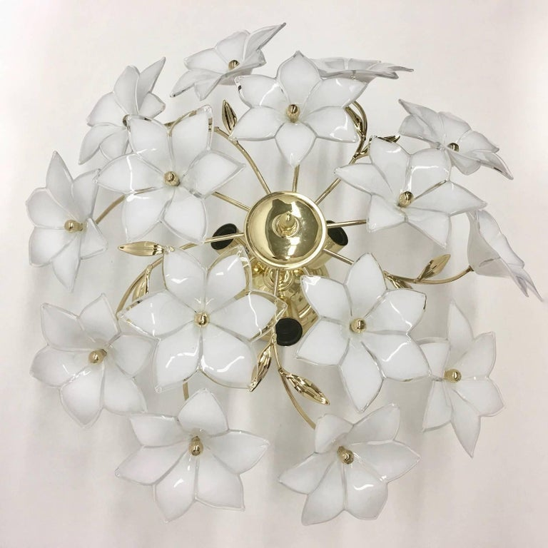 Stunning Flower Glass Italian Wall Light or Flush Mount For Sale 1