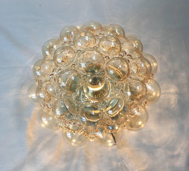 1960s German Amber Bubble Glass Flush Mount Designed by Helena Tynell In Good Condition For Sale In Frisco, TX