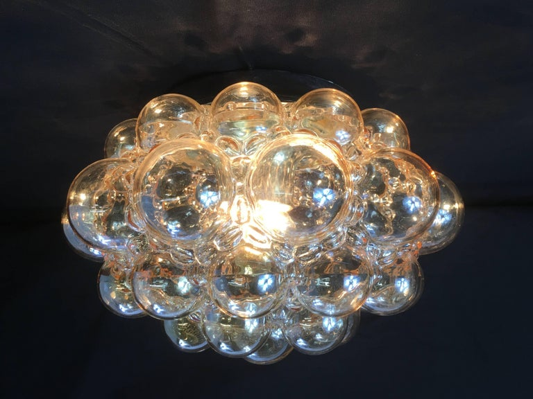 Mid-20th Century 1960s German Amber Bubble Glass Flush Mount Designed by Helena Tynell For Sale