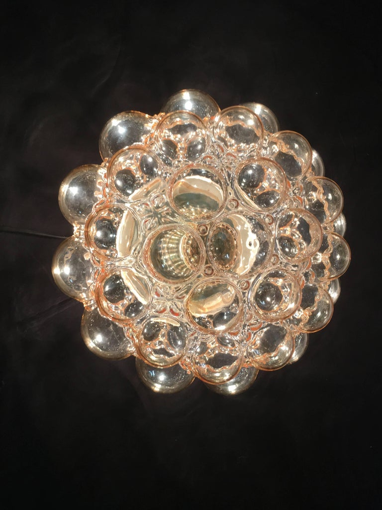 1960s German Amber Bubble Glass Flush Mount Designed by Helena Tynell For Sale 1
