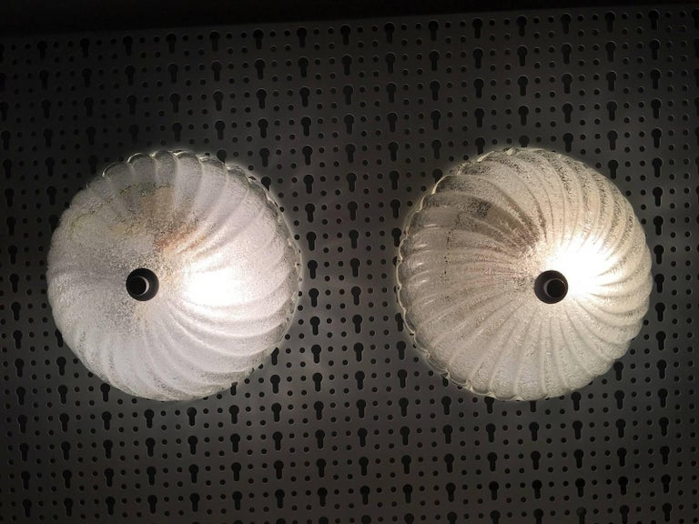 Pair of Round Italy Glass Sconces or Flush Mount Barovier & Toso Style For Sale 2