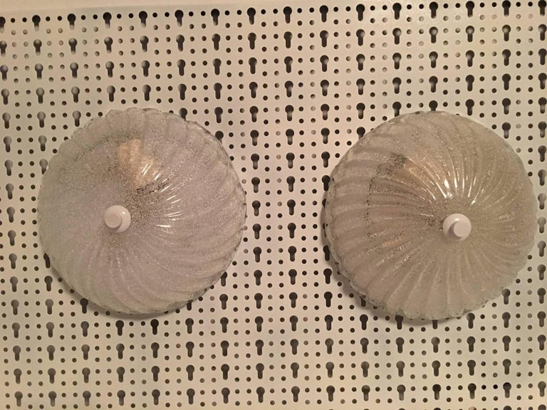 German Pair of Round Italy Glass Sconces or Flush Mount Barovier & Toso Style For Sale