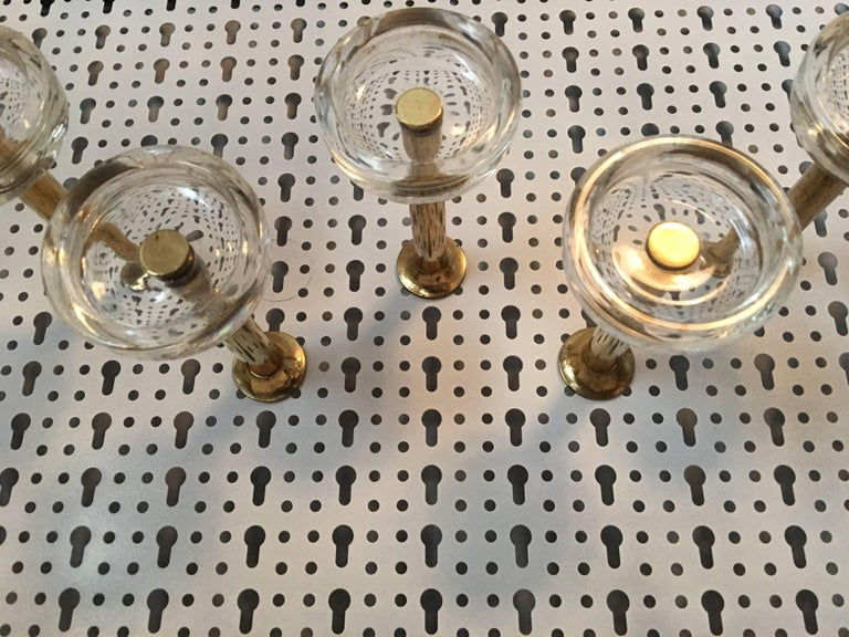 Five Midcentury Wall Hook Brass and Glass, Italy, 1970s In Good Condition For Sale In Frisco, TX