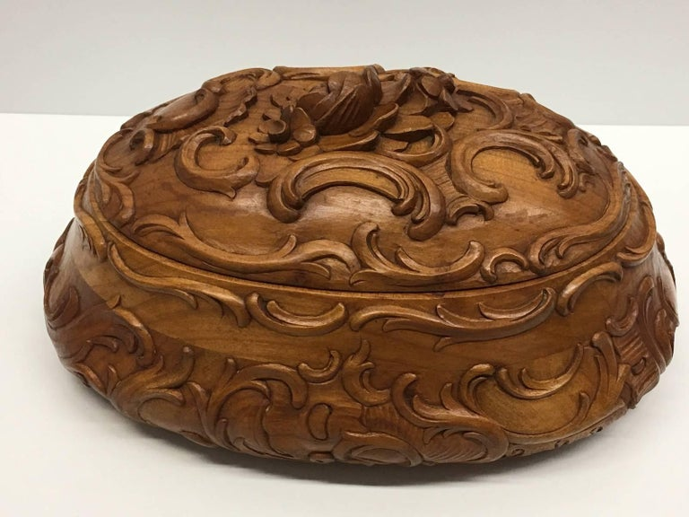 Rosewood Carved Wood Black Forest Brienz Box with Floral Decor For Sale