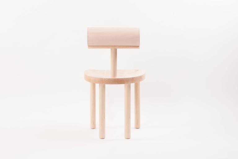 American UNA Dining Chair in Hard Maple with Vegetable Leather Back by Estudio Persona For Sale