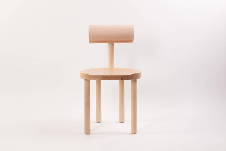 Modern UNA Dining Chair in Hard Maple with Vegetable Leather Back by Estudio Persona For Sale