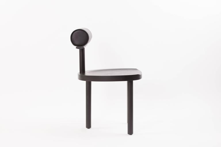 American UNA Dining Chair in Black Stained Oak with Leather Back by Estudio Persona For Sale