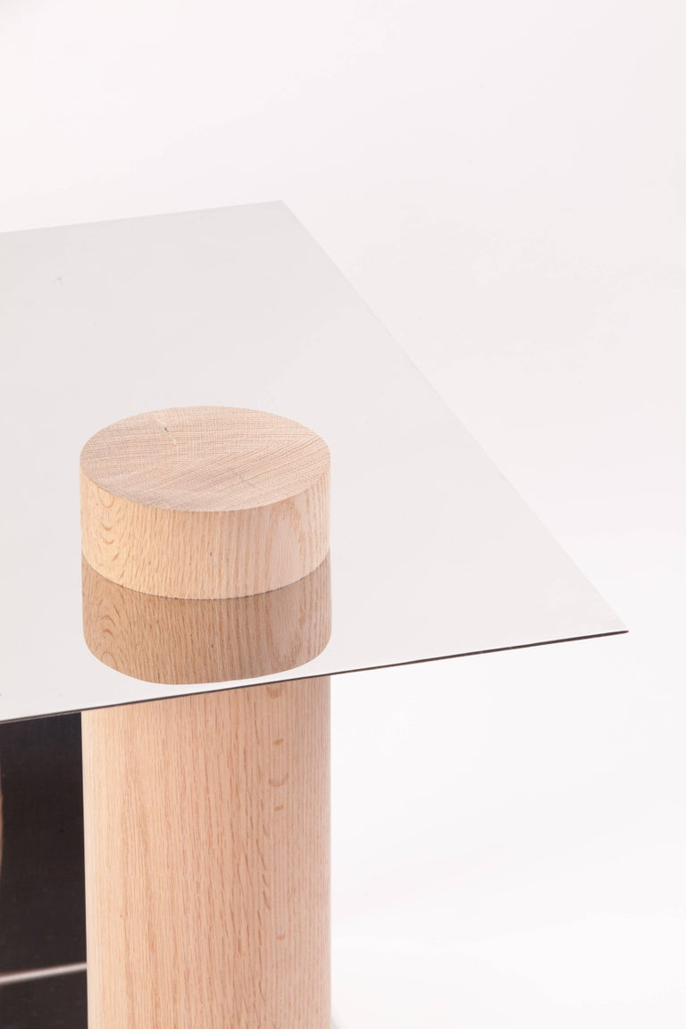 Contemporary Puru Modern Side Table, Polished Stainless Steel & White Oak by Estudio Persona For Sale