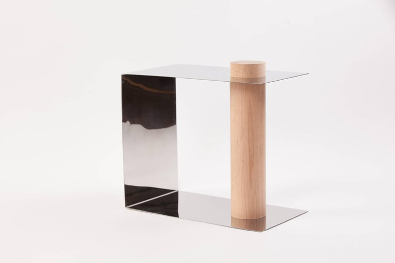 Puru Modern Side Table, Polished Stainless Steel & White Oak by Estudio Persona In New Condition For Sale In Los Angeles, CA