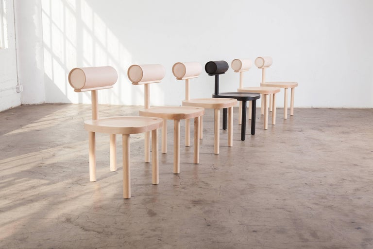 UNA Dining Chair in Hard Maple with Vegetable Leather Back by Estudio Persona In New Condition For Sale In Los Angeles, CA