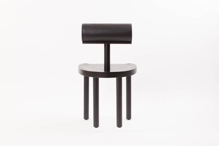 UNA Dining Chair in Black Stained Oak with Leather Back by Estudio Persona In New Condition For Sale In Los Angeles, CA