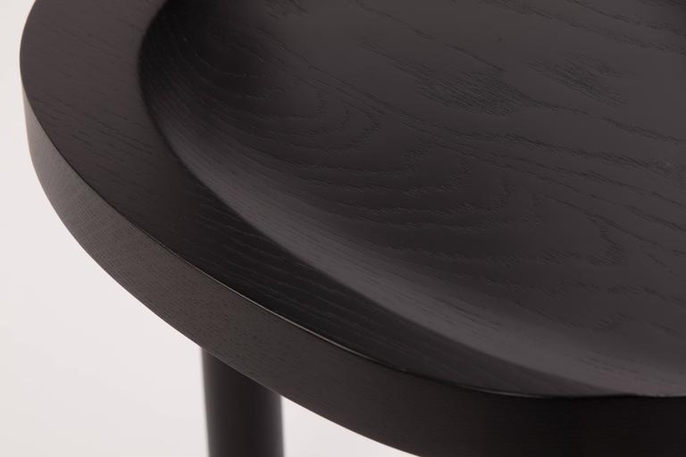 Contemporary UNA Dining Chair in Black Stained Oak with Leather Back by Estudio Persona For Sale