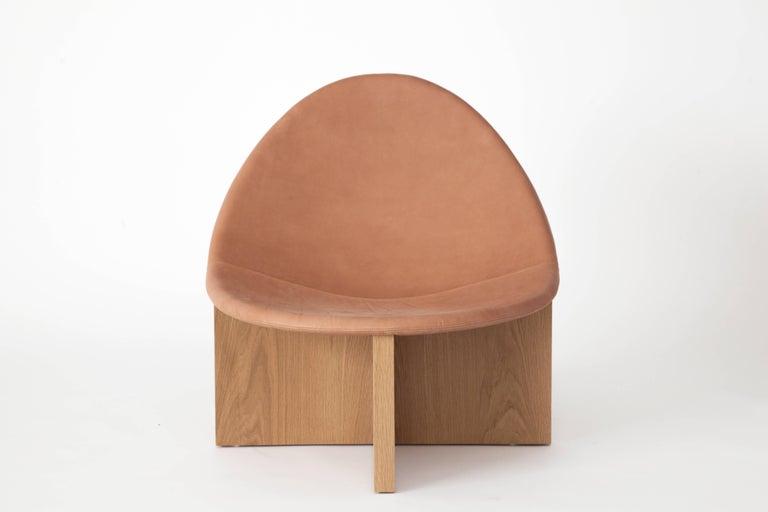 American Nido Modern Lounge Chair, White Oak Base & Blush Leather seat by Estudio Persona For Sale