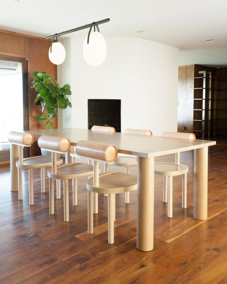 Contemporary UNA Modern Dining Table with Column Legs in solid White Oak by Estudio Persona For Sale