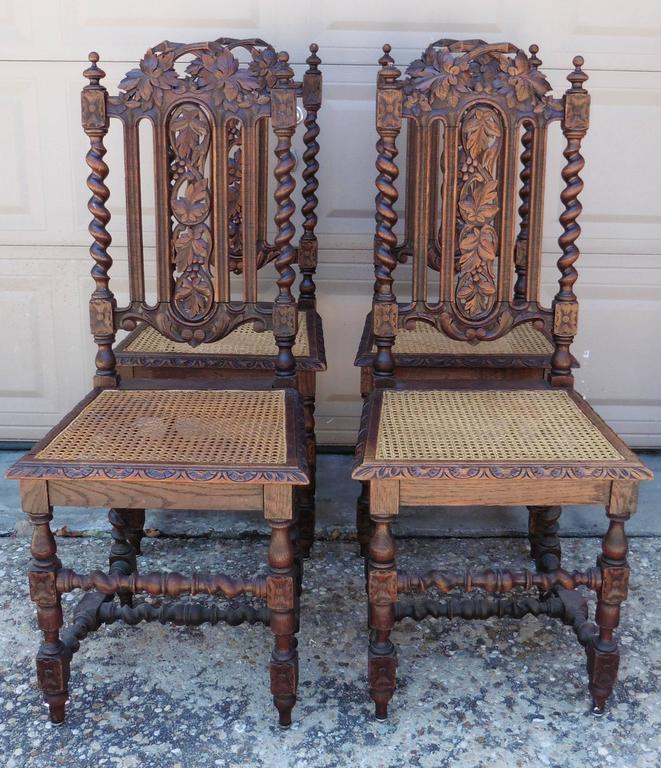 Damaged Furniture Sale: 19th Century Set Of Four Carved Oak Renaissance Style