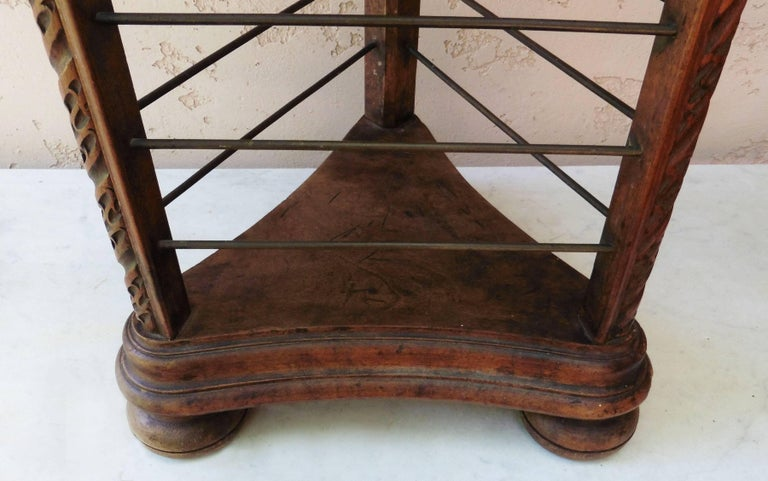 Unusual French wood carved plate rack with brass holders, circa 1880.