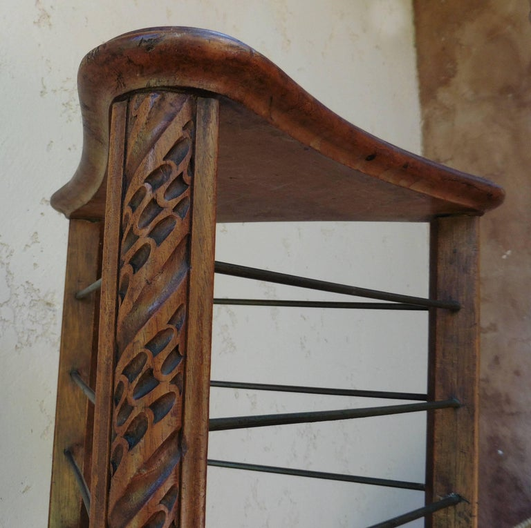 French Provincial French Carved Plate Rack with Brass Holders, circa 1880 For Sale