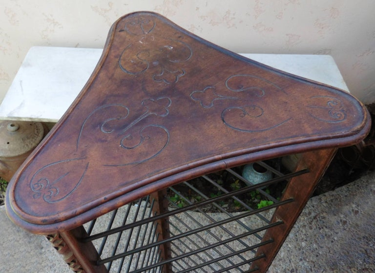 Late 19th Century French Carved Plate Rack with Brass Holders, circa 1880 For Sale