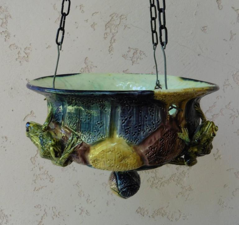 Victorian Majolica Hanging Frogs Planter Thomas Sergent, circa 1880 For Sale