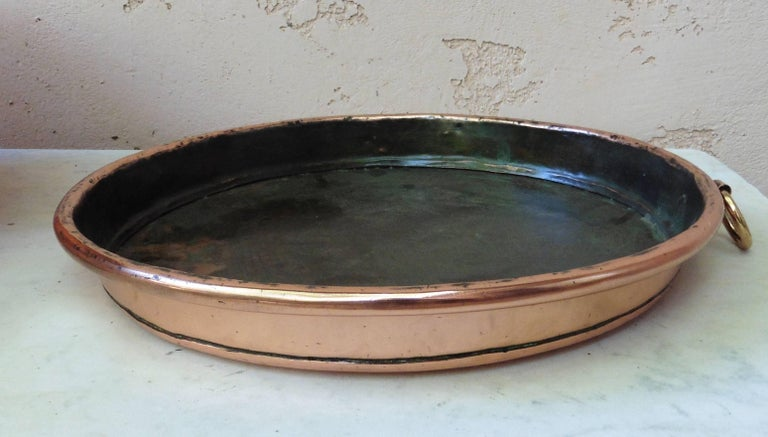 19th century stunning large French heavy copper pie platter, polished.