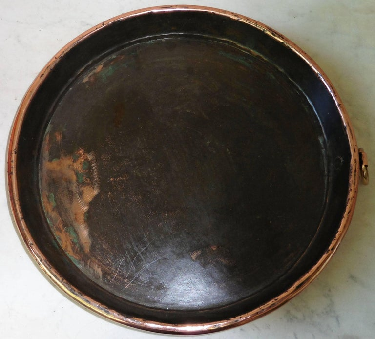 French Provincial Large 19th Century, French Copper Pie Platter Pan For Sale