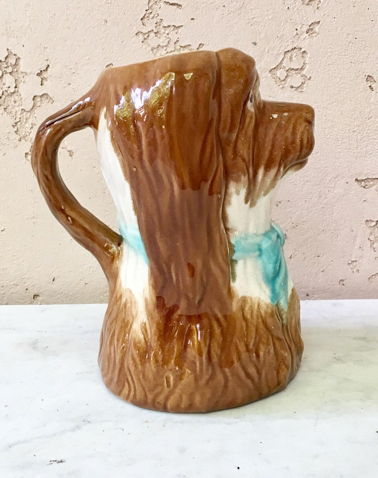French Majolica dog pitcher, circa 1900.