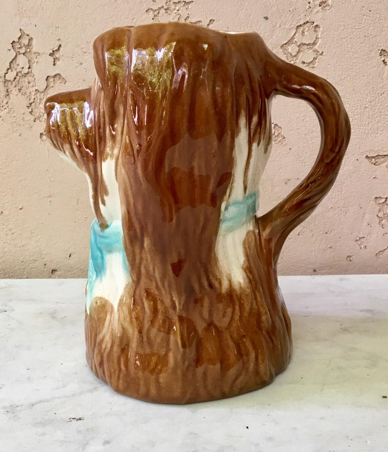 French Majolica Dog Pitcher, circa 1900 In Good Condition For Sale In The Hills, TX
