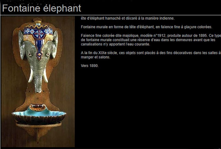 Rare Majolica Elephant Fountain Sarreguemines, circa 1890 For Sale 4